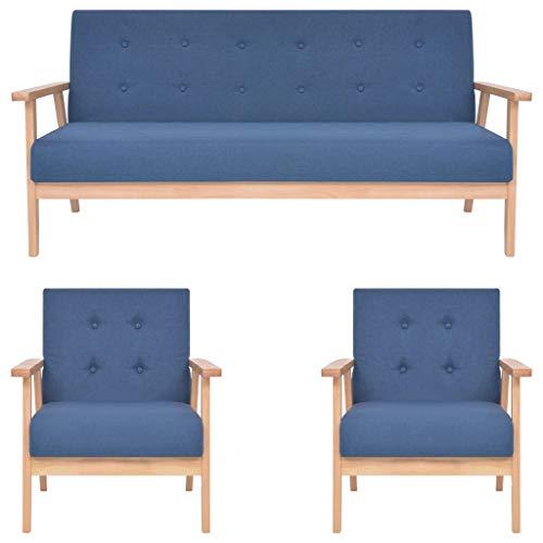 vidaXL Sofa 3-TLG. Sofagarnitur Sessel Couch Polstersofa Couchgarnitur Loungesofa Stoffsofa Polstergarnitur Sitzmöbel Wohnzimmer Stoff Blau