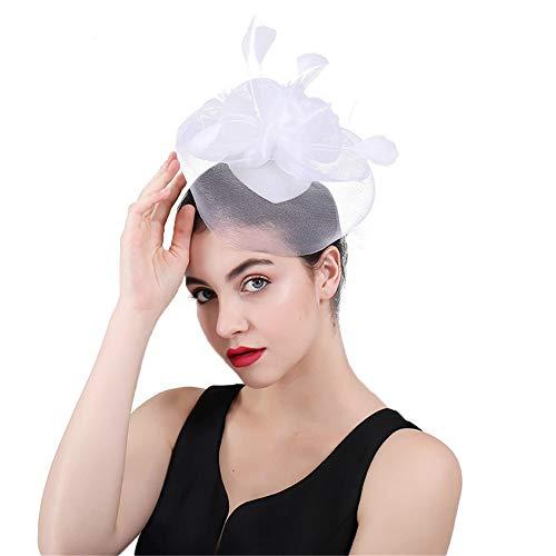 Jklj Pince à Cheveux Coiffe De Plumes Mesh Net Flower Hairpin Charme Chapeau féminin Rétro