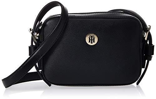 Tommy Hilfiger Damen Classic Saffiano Camera Bag Umhängetasche, Schwarz (Black), 6x0.1x19 Centimeters