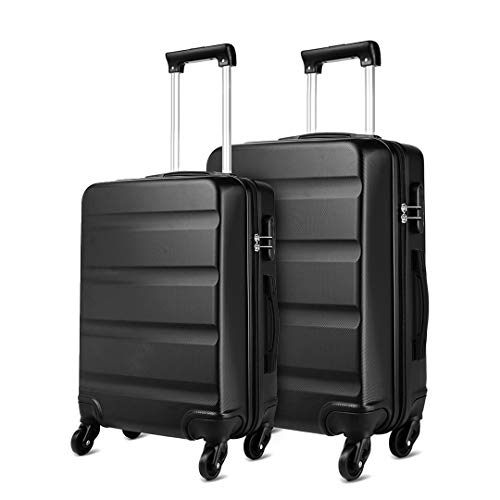 Kono ABS Hard Shell Luggage Sets of 2 Lightweight Travel Trolley Suitcase (Medium+Large, Black)