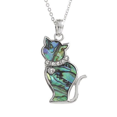 Kiara Schmuck Katze Anhänger Halskette mit natürlichen grünlichen blau intarsiert Paua Abalone Shell mit Glas Steinen Rundum Halsband auf 45,7 cm Trace Kette. Rhodiniert, Anlauf Geschützt.