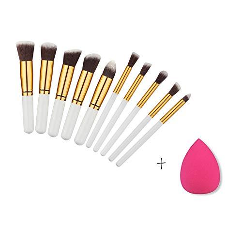 Lot de 10 pinceaux de maquillage professionnels avec manche en bois synthétique de qualité supérieure pour fond de teint avec éponge en forme de goutte d'eau
