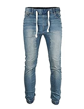 ZIMEGO Men s Vintage Washed Drop Crotch Comfort Stretch Jogger Denim Pants Vintage Denim M