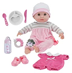 "GIFT SET includes a2 piece embroideed OUTFIT, an EXTRA OUTIFT a Pair of Adorable SHOES, BABY BOTTLE, PACIFIER, RATTLE and FEEDING ACCESSORIES. Packaged in a wonderful Gift Set Box – The perfect Present!! At 15"", she is the perfect size for children t..."