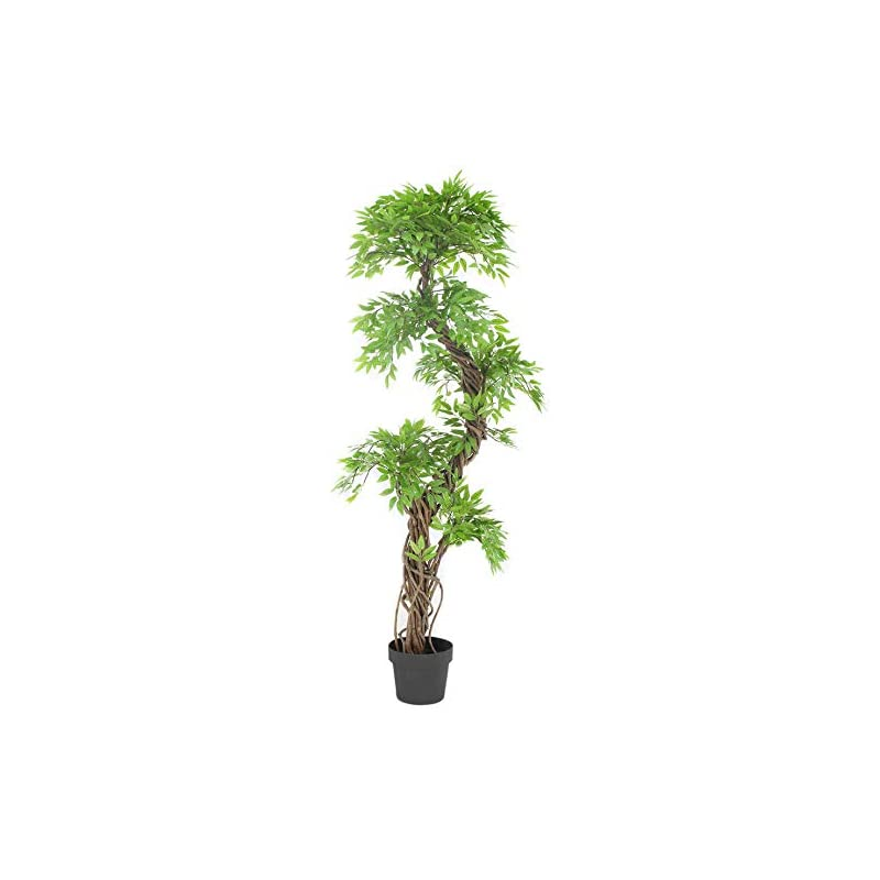 silk flower arrangements luxury japanese fruticosa tree, handmade artificial plant, replica japanese tree made with real bark and synthetic leaves in a brown plastic pot, 165 centimetres tall