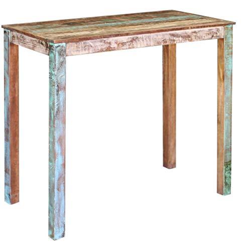 vidaXL Mesa Alta de Bar de Madera Maciza Reciclada Multicolor 115x60x107 cm