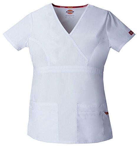 Dickies Damen EDS Signature Series Scrubs Junior-Fit Mock-Wrap Top - Weiß - Mittel