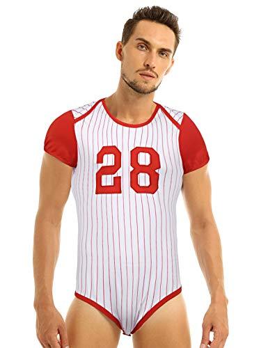 CHICTRY Herren Body Overalls Kurzarm Unterhemd T-Shirt Baseball-Stil Gestreifter Bodysuit Dessous mit Druckknöpfe Clubwear Rot XX-Large