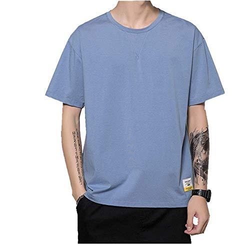 n\a New Summer Camiseta de manga corta para hombre de algodón Slim para primavera y verano Azul azul XXL