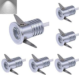 OLEEP 6PCS 3W Plata Lámparas empotrables de techo LED con Transformer,Mini LED Gabinete Focos Downlights, 6000K Blanco Fresco