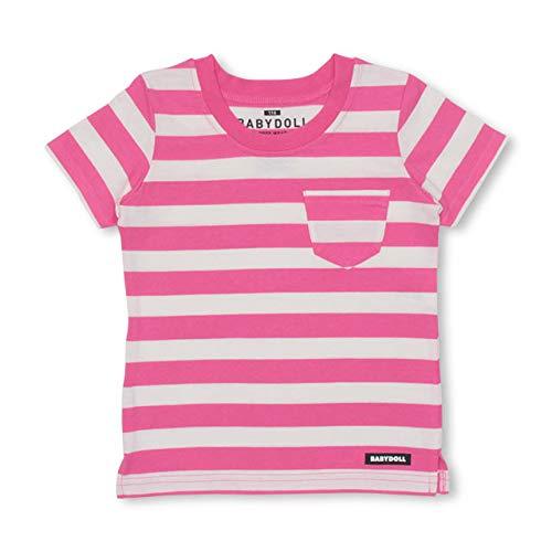 BABYDOLL(ベビードール)親子お揃い パックTシャツ 3672K 90cm ボーダー/ピンク