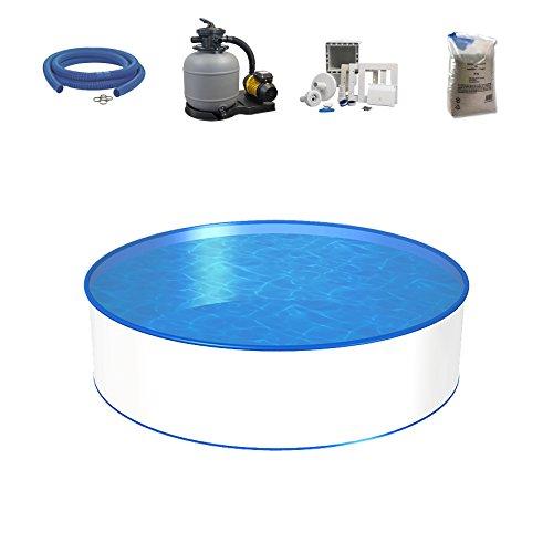 Poolset, Größe & Tiefe wählbar, Aufstellbecken mit 0,4mm Stahlwand, 0,4mm Poolfolie, Sandfilteranlage SF und Filtersand, Skimmer- und Schlauch-Set-300 x 90cm