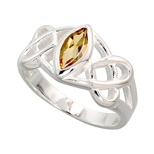 Sterling Silver Celtic Motherhood Knot Ring with Natural Citrine 3/8 inch Wide, Size 8