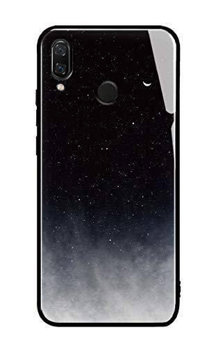 Cover Huawei P20 Lite, Custodia Protettiva in Vetro Temperato 9H [AntiGraffii] + Bordo e Cornice in TPU [Silicone Morbido] [Antiurti] Stile Galaxy Universale. (Universo)