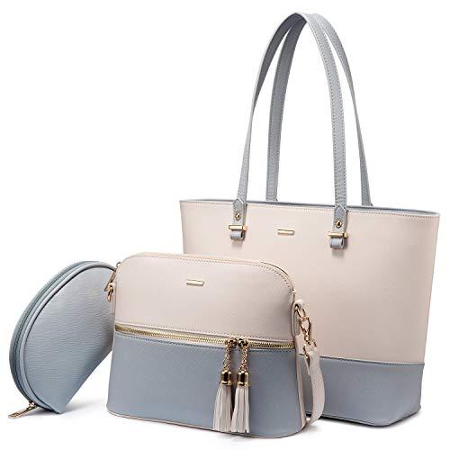 LOVEVOOK Handtasche Damen Schultertasche Handtaschen Tragetasche Damen Groß Designer Elegant Umhängetasche Henkeltasche Set 3-teiliges Set (Beige-Hellblau)