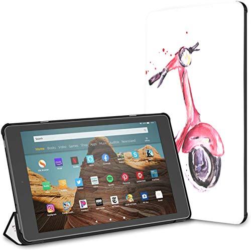 Funda para Tableta Fire HD 10 de Motocicleta Encantadora y Elegante (9a / 7a generación, versión 2019/2017) Funda para Tableta Kindle Fire HD 10 HD 10 Funda para Kindle Fire Auto Wake/slee