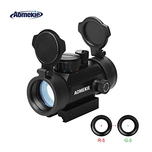 Aomekie Red Dot Sight Scope with 11mm/20mm/22mm Weaver/Picatinny Rail Mount and Flip up Lens Cover Rifle Scope