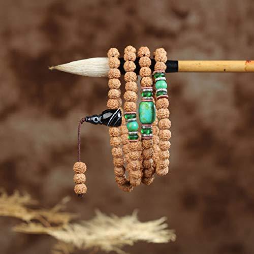 LEIGAGA 6/8mm Natuurlijke 108 Mala Bodhi Zaad Kralen Armband 5 Bloemblaadjes Gebed Armband Groothandel