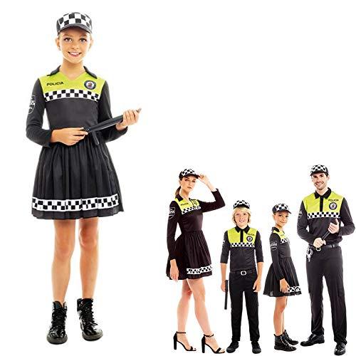 Disfraz Policía Local Niña Uniforme con Gorra Checkers【Tallas Infantiles de 3 a 12 años】[5-6 años] Disfraz Carnaval Niña Profesiones Uniforme con Gorra Policía Desfiles Teatro Actuaciones Regalo