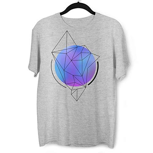 Camiseta con esfera de malla de degradado azul abstracto con líneas geométricas de polígono gris XL