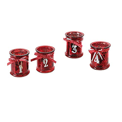 schenken-24 Adventskranz/Adventsgesteck bestehend aus 4 Windlicht-Gläsern rot - Adventsdeko