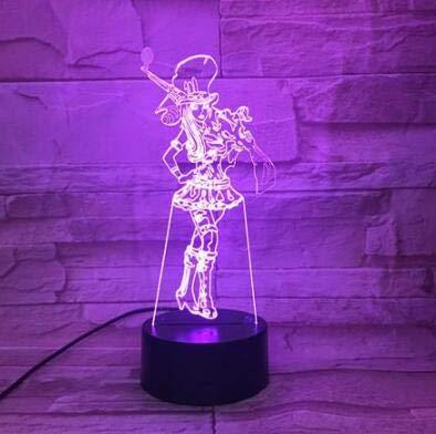 LoL Heros League of Legends Estrategia 3D Juego de equipo LED Luz de noche Dibujos animados Niño Niños Regalo Lámpara de mesa Decoración del dormitorio El Sheriff de Piltover Caitlyn