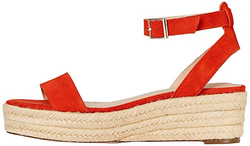 Marca Amazon - FIND Two Part Suede Espadrille Alpargata, Naranja (Orange), 41 EU