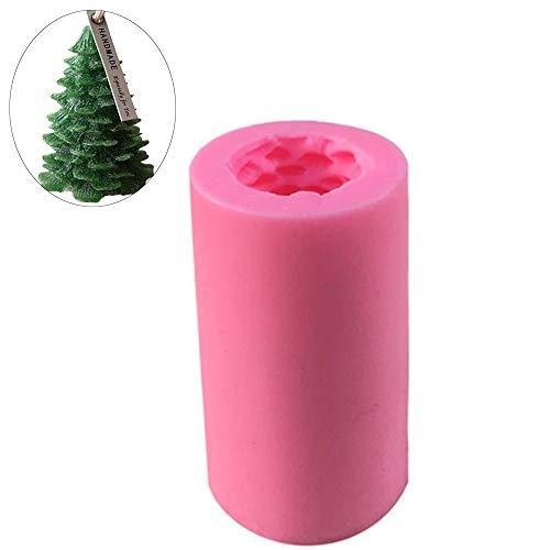 Hpamba Molde de Vela de Árbol de Navidad 3D Molde de Vela de Forma de Árbol Silicona 3D en Forma Árbol Vela Molde Molde Vela Forma Cilíndrica Molde de Pastel de Jabón en Forma Árbol Hecho en Casa 1PC