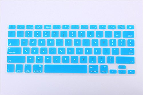 Rinbers Light Blue Silicone Keyboard Cover Skin for MacBook Air 13 Pro 13 15 17 inch (with or w/o Retina Display) and iMac Wireless Keyboard