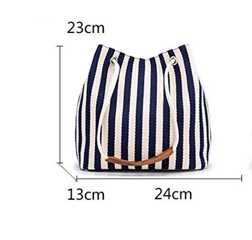 Weekendy Bolso de Mano Personalizado Rayas Verticales de Lona Femenina Bolso de Hombro Neverfull conmutación Cubo Vacaciones Compras Bolso (Azul)