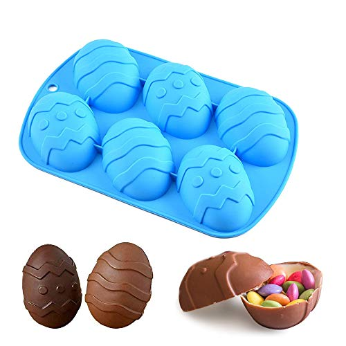 Easter Egg Mold – Egg Silicone Chocolate Mold Large Easter Egg for Cocoa Bombs amp Breakable Egg Chocolate Shells fill with Peeps Candy Cake amp Marshmallows Large 35 in Includes Cocoa Bomb Recipe