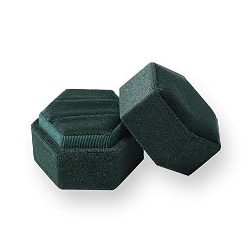 HYMD Joyero Caja de joyería Hexagonal de Terciopelo, Caja de Almacenamiento de Doble Anillo, Anillo de Bodas, Regalo para Mujeres, empaquetado de aretes, 5 Colores (Color : Green)