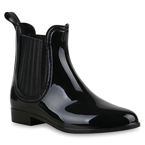 Stiefelparadies Bequeme Stiefeletten Damen Chelsea Boots Gummistiefel Lack Schuhe 118462 Schwarz 36 Flandell