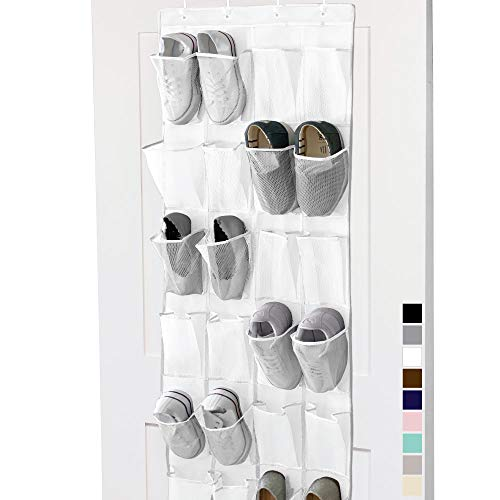 Gorilla Grip Premium Over The Door Mesh Pocket Shoe Organizer 24 Large Breathable Durable Pockets Hooks for Hanging on Closet Doors Storage and Organizers for Shoes Sneakers and Accessories White