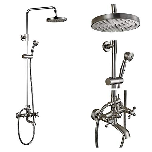 Rozin Wall Mounted Top Rainfall Shower Set Tub Faucet with Handheld Spray...