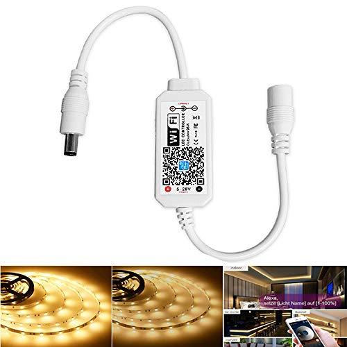 WLAN - Controller per bianco caldo strisce LED, dimmerabile, controllabile tramite Wifi/App, funziona con Alexa, regolatore dimmer controllo voce, dimmerabile, funzione timer, Dimmer
