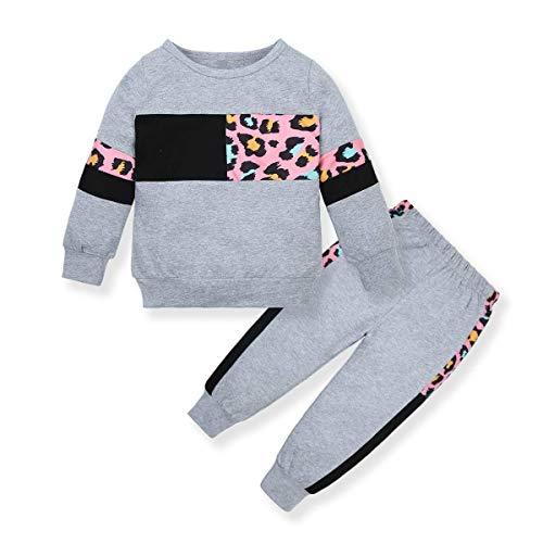 ZOEREA Conjunto de Ropa de Bebé Niña Moda Manga Sudadera Tops + Pantalones Leopardo Recién Nacido Niñas Otoño Primavera Trajes (Gris, 12-18 Meses)