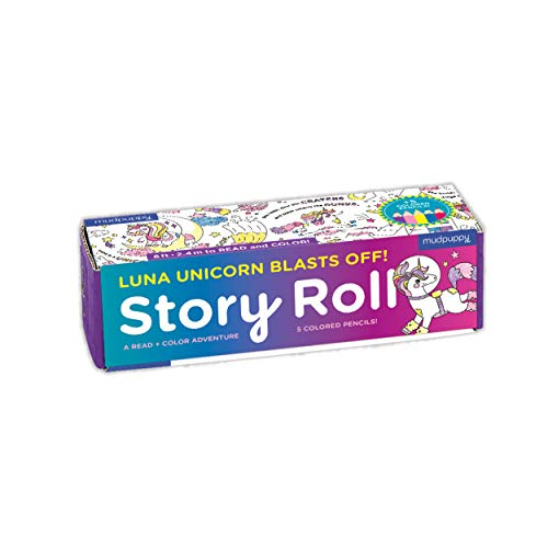 Mudpuppy Luna Unicorn Blasts Off Story Roll – Continuous Story and Unicorn Coloring Paper Roll Measuring 8 Feet – 5 Colored Pencils Included – A Read amp Color Adventure for Kids 4 Multicolor