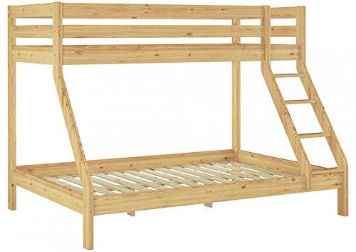 Erst-Holz Letto a Castello 3 piazze per materassi 140x200-90x200anche per Adulti in Pino 60.19-09-14