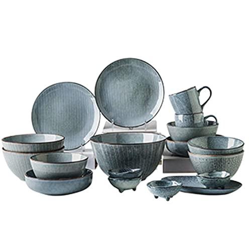 CCAN Plato de cerámica de Esmalte Activo Creativo, vajilla Irregular Japonesa Pintada a Mano, 18 Piezas A (Servicio para 4 Interesting Life