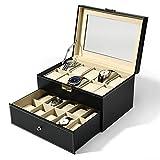 Lkaibin Relojes Joyero Caja de reloj de 2 capas de cuero de la PU del caso de exhibición de almacenamiento Relojes de joyería de la mancuerna con la cerradura exhibición del reloj (Color: Negro, tamañ
