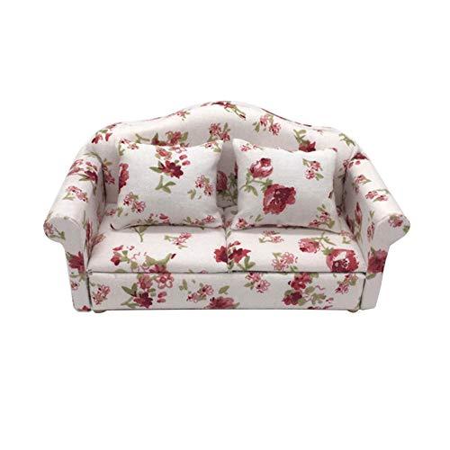lamta1k Love Sitzkissenset,1/12 Mini Blumendruck Love Seat Sofakissen Modell Living Room Supply