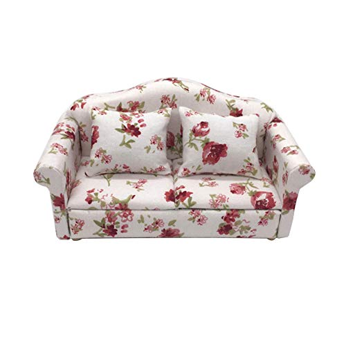 WFZ17 Kids Dollhouse Miniatures Toy,1/12 Mini Floral Print Love Seat Sofa Cushion Model Dollhouse Living Room Supply - 8#