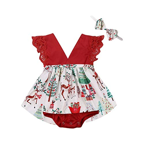 Infant Baby Girl Christmas Romper Dress Ruffle Sleeveless Lace Romper Tutu Skirt Headband Christmas Outfit Clothes (Red, 0-6 Months)