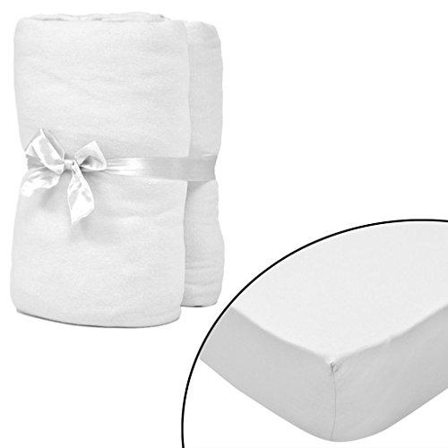 Geniet van winkelen met Hoeslaken voor matras 180x200-200x220 cm katoenjersey (wit) 2 stuks