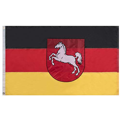 Lixure Niedersachsen Flagge/Fahne Premium Qualität für Windige Tage 90x150cm Stickerei-Flagge Durable 210D Nylon Draußen/Drinnen Dekoration Flagge MEHRWEG