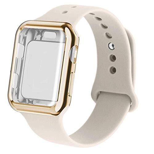 MOODER Caso+correa para Apple Watch Band 44mm 40mm para Iwatch Bandas 42mm 38mm Silicona Correa de reloj Pulsera para Series 6 SE 5 4 3 2