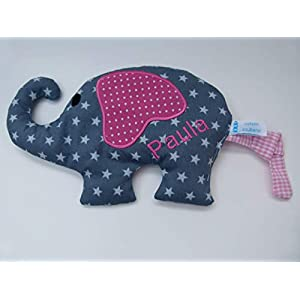 Wärmekissen Dinkelkissen Elefant mit Namen Körnerkissen Mikrowelle