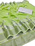 KRISHNA FASHION Designer Chanderi Cotton Embroidered Work Saree With Unstiched Blouse Piece (GREEN)