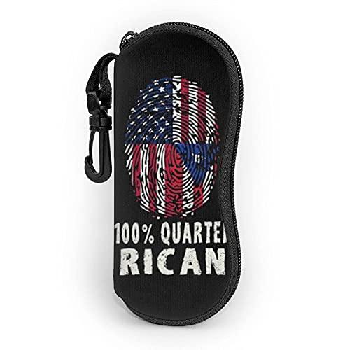 Funny Fingerprint Puerto Rican Estuche para gafas 2021 Mosquetón con cremallera para gafas de sol Protector portátil Carcasa dura